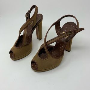 Moschino cheap and chic brown peep toe heels